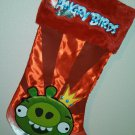 "17"" Angry Birds Green Pig on a Red Satin Christmas Stocking"