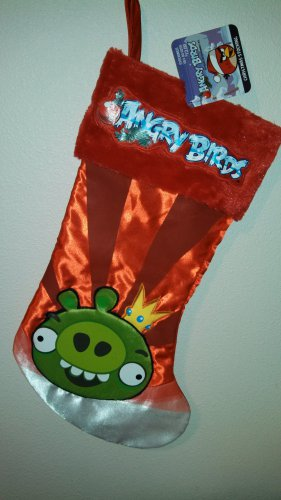 """17"""" Angry Birds Green Pig on a Red Satin Christmas Stocking"""