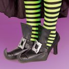Black Vinyl Witch Shoe Covers with Faux Gold Buckles Halloween Costume Accessory