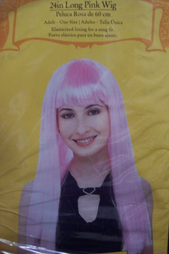 24 Inch Long Pink Adult Standard Wig Party Halloween Costume Accessory