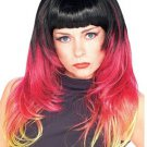 Womens Long Multi-Colored Ombre Wig with Black Red & Blonde Highlights Costume Accessory