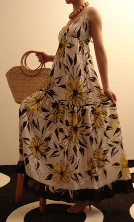 S- Floral Yellow Ruffle Maxi Dress