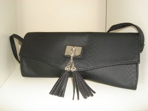 Black Faux Croc Roll Clutch Shoulder Bag