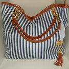 Blue & White Stripe Canvas Tote