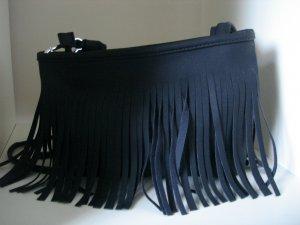 Black Fringe Cross Body Shoulder Bag