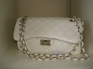 White Quilted Square Handbag