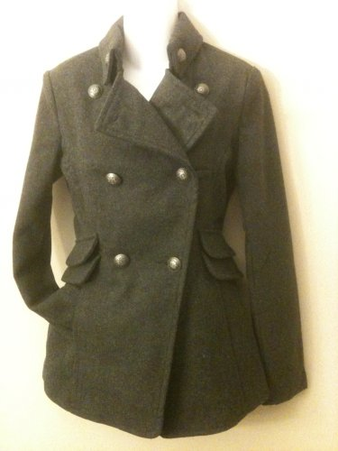 M-Double Breasted Wool Coat in Grey