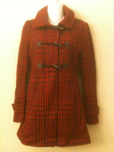 S- Toggle Front Tweed Coat in Red