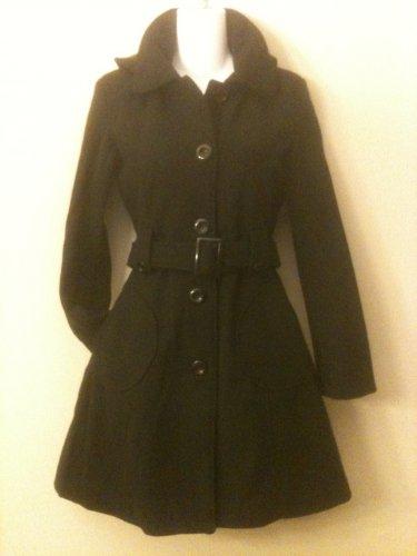 M- Black Hooded A-Line Wool Mid length Coat