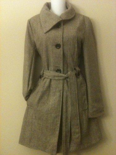 M- Tweed Belted Dress Coat in Grey