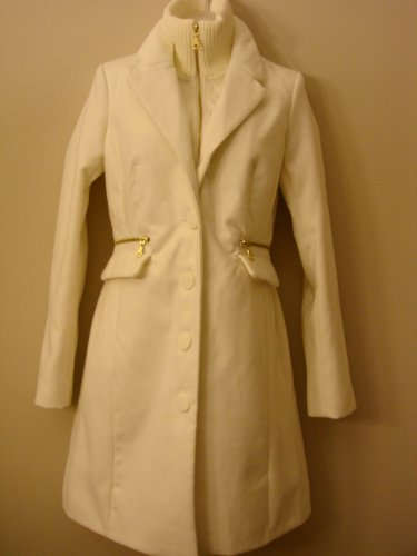 M- Ivory Funnel Neck Wool Coat