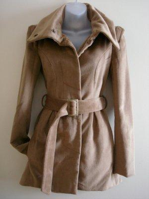 S- Brown Wool Belted Car Coat
