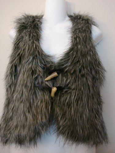 L- Grey Faux Ostrich Fur Vest