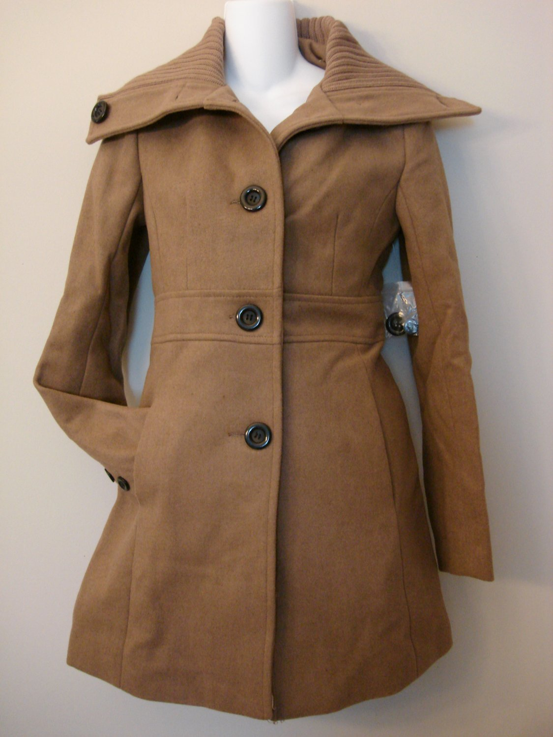 S- Brown Wide Collar Wool Coat