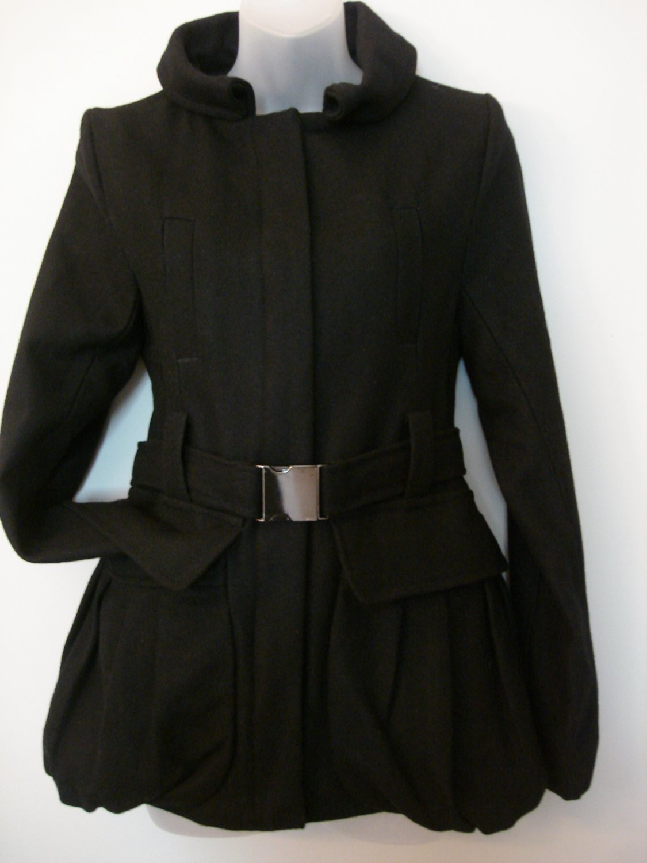 S- Black Wool Belted Bubble Skirt Coat