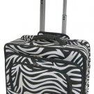 Zebra Print Designer Large Rolling Briefcase w/ Shoulder Strap! (Black)