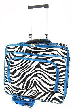 Zebra Print Designer Large Rolling Briefcase w/ Shoulder Strap! (Blue)