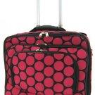 Polka Dot Print Designer Large Laptop Rolling Briefcase w/ Shoulder Strap! (Black/Fuchsia)