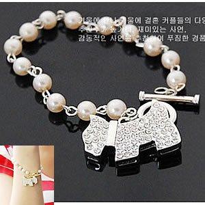 Korean Jewelry [67214] Cute Little Dog + Pearl Chain Silver Bracelet  (value @ $11.5)