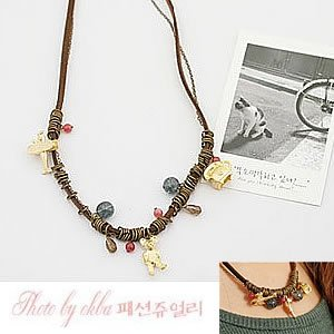 Korean Jewelry [67218] Cute Bears and Assorted Stones Necklace  (value @ $14.5)