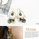 Korean Jewelry [67224] Luxurious Crown + Coins + Pearls Earrings  (value @ $10.5)