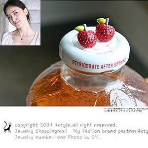 Korean Jewelry [67211] Cute Red Apples Earrings  (value @ $8.5)