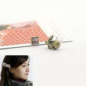 Korean Jewelry [67208] Cute Mismatch Easter Bunny + Crystals Earrings - Antique (value @ $9.5)