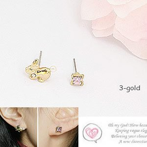 Korean Jewelry [67207] Cute Mismatch Easter Bunny + Crystals Earrings - Gold (value @ $9.5)