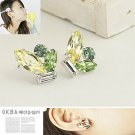 Korean Jewelry [67241] Sparkling Colorful Crystals Earrings - Green tones (value @ $11.5)