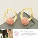 Korean Jewelry [67242] Pretty Pink Rose Earrings  (value @ $8.5)