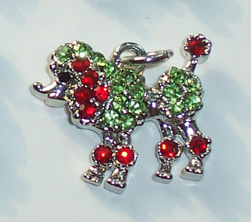 Poodle Dog with Red n Green color crystal charm/pendant C026 - Free Shipping Charms