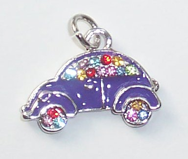 Purple Car shape with Crystals Charms/Pendants C011 - Free Shipping Charms