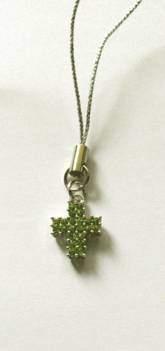 Green Crystal Cross Shape Phone charm/pendant C039 - Free Shipping Charms