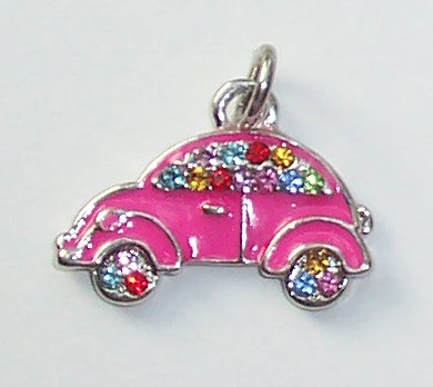 Pink Car shape with Crystals Charms/Pendants C009 - Free Shipping Charms