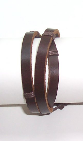 New Brown Leather Bracelet Surfer Wristband Unisex B007
