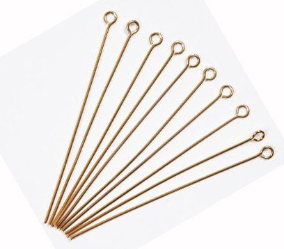 Free shipping Eyepin Gold clr plated x 50 Jewellery Findings 50mm