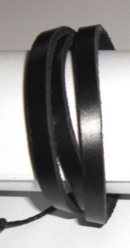 Free Shipping b17 Unisex New Black clr Leather Bracelet Sufer Band - 3 strands