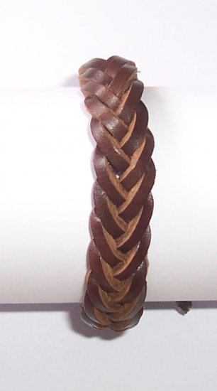Free Shipping Unisex New Brown Braid Leather Bracelet Sufer Band B024