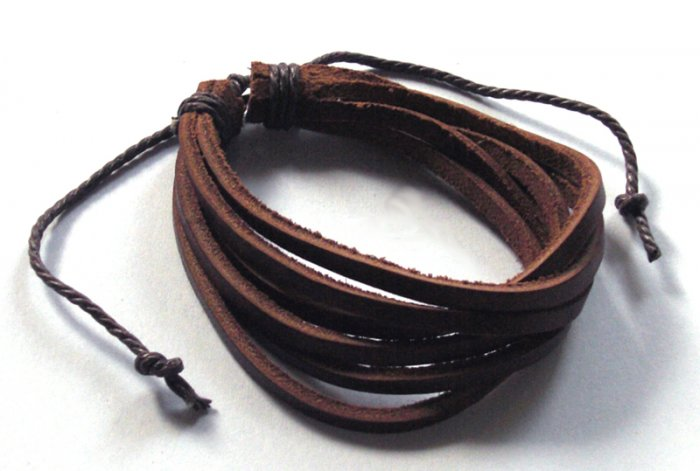 Free Shipping B29 New Brown Leather Bracelet Unisex Surfer Wristband