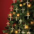 Set Of 18 Glass Cross Ornaments