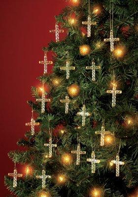 Set Of 18 Glass Cross Ornaments