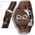 WOHLER MENS AUTOMATIC LUXURY BROWN IP STAINLESS STEEL WATCH NEW FREE USA S-H