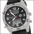 S.U.G. MENS TRANSIT ANA-DIGITAL WORLD TIME BLACK CARBON FIBER DIAL WATCH NEW S.U.G. FREE USA S-H