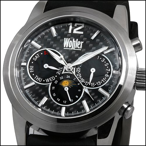 WOHLER MENS 23J AUTOMATIC CARBON DIAL WATCH BLACK NEW FREE USA S-H