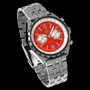 S.U.G. GRAVITY MEN'S 21J AUTOMATIC STAINLESS BRACELET WATCH NEW RED SUG FREE USA S-H