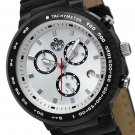 SUG HEAT MENS SWISS ISA CHRONOGRAPH QUARTZ MOVEMENT LEATHER WATCH NEW SILVER S.U.G.