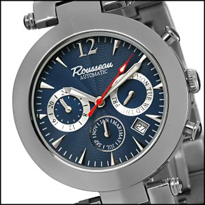 ROUSSEAU ALLEGRETTO MENS 22J AUTOMATIC WATCH NEW BLUE FACE & STAINLESS STEEL BRACELET FREE USA S-H