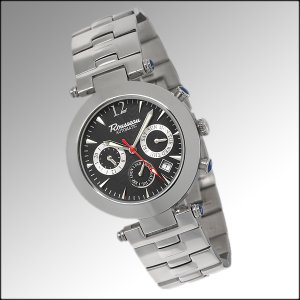 ROUSSEAU ALLEGRETTO MENS 22J AUTOMATIC WATCH NEW BLACK FACE & STAINLESS STEEL BRACELET FREE USA S-H