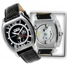 S.U.G. GRAND PRIX MEN'S 26J AUTOMATIC WATCH NEW BLACK DIAL SUG LEATHER STRAP