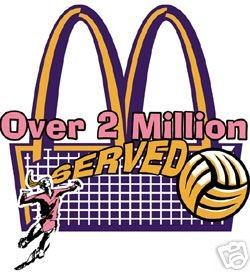 Two Million Served Volleyball T-shirt Size LARGE NEW